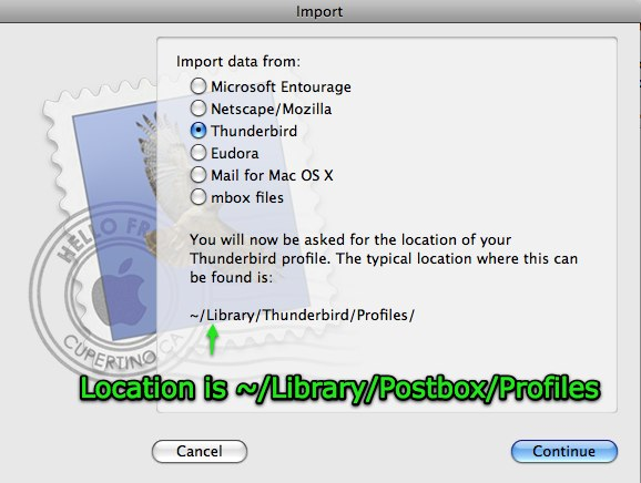 &quot;Import mail&quot; dialog