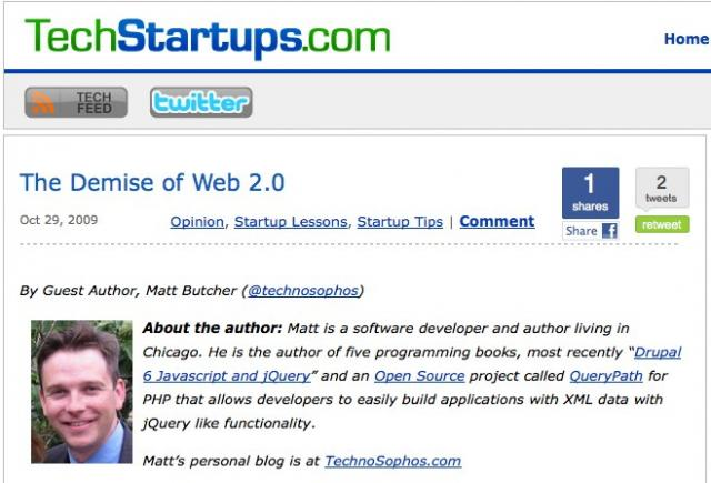 TechStartups: The Demise of Web 2.0