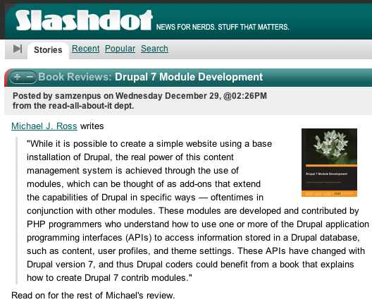 Slashdot review of D7 Module Development
